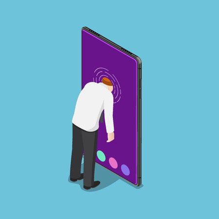 Flat 3d isometric businessman push his head into smartphone. Smartphone addiction concept.