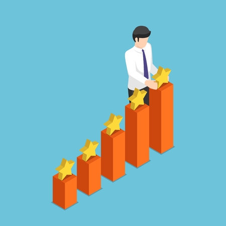 Flat 3d isometric businessman putting star on the top of growth business graph. Business success and rating concept.