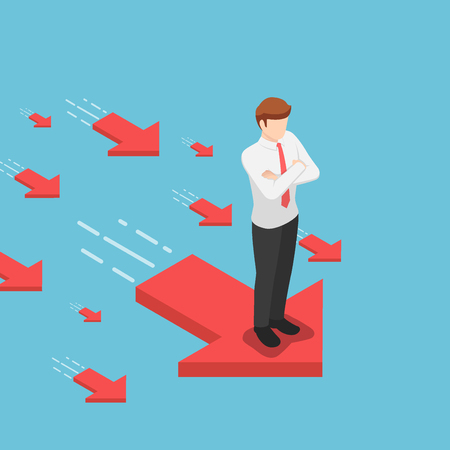 Flat 3d isometric businessman standing on red arrow with his arms crossed. Leadership and business success concept.