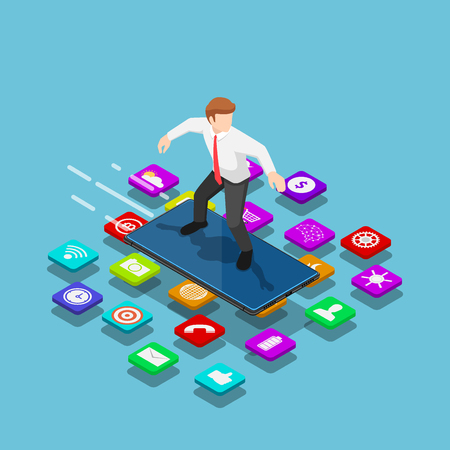 Flat 3d isometric businessman use smartphone to surfing on the mobile application. Mobile application and social network concept.