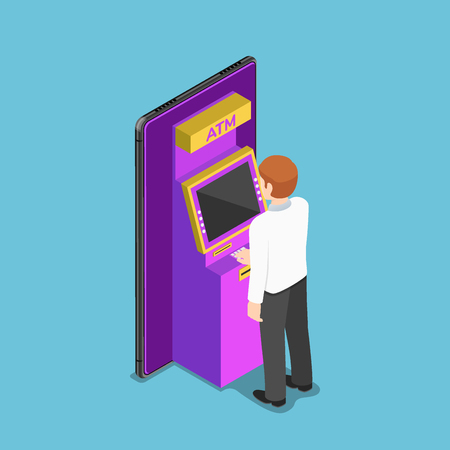 Flat 3d isometric businessman using an atm machine on smartphone. Mobile banking concept.