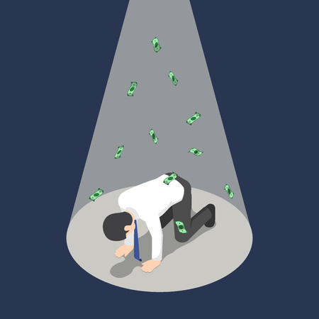 Flat 3d isometric depressed businessman kneeling under the spotlight with money banknote. Bankruptcy and business failure concept.