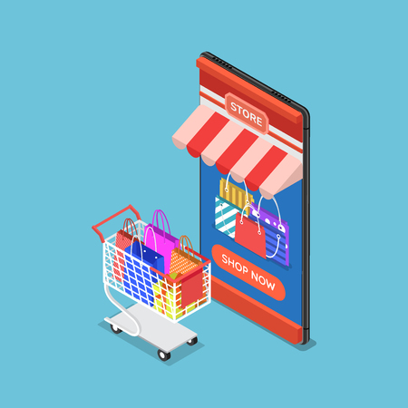 Falt 3d isometric online store on smartphone with cart and shopping bag. Online shopping concept.