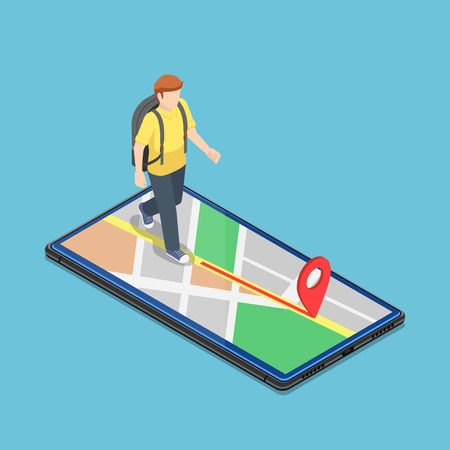Flat 3d isometric traveller use map application on the smartphone to reach the destination. Mobile GPS navigation system concept. 일러스트