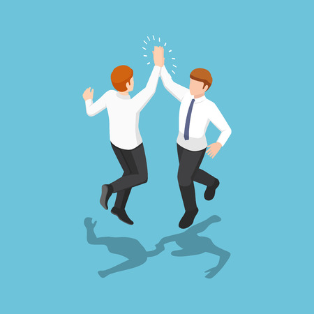 Flat 3d isometric two businessmen jumping and giving high five in the air. Business success celebration concept. 向量圖像