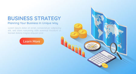 3d isometric web banner business planning strategy on world map with accessories and graph. Business planning and strategy concept landing page. 版權商用圖片 - 120781844