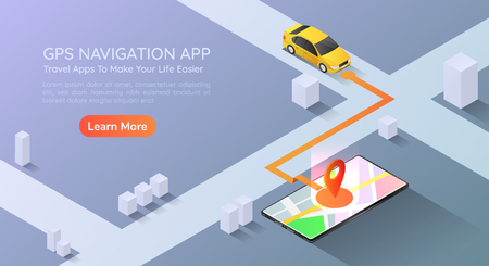 3d isometric web banner car going to pin point at the gps map navigation application on smartphone. Mobile gps map navigation technology concept landing page.