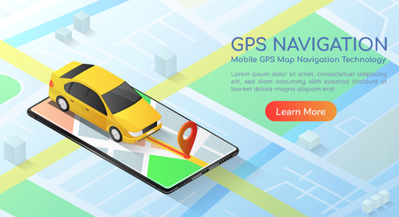 3d isometric web banner car with gps map navigation application on smartphone. Mobile gps map navigation technology concept landing page. 版權商用圖片 - 120781847