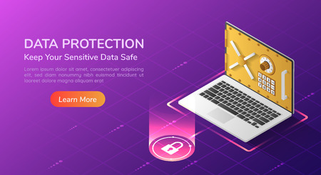 3d isometric web banner laptop with full option security system and vault door on the screen. Personal data security concept landing page. 일러스트