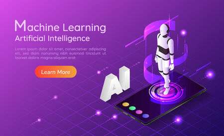 3d isometric web banner personal assistant AI robot on smartphone. Artificial intelligence and machine learning concept landing page. 일러스트