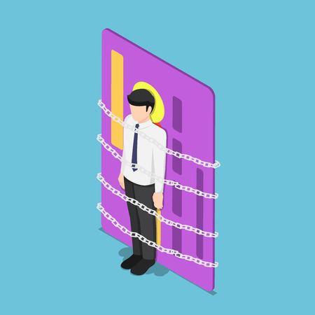 Flat 3d isometric businessman chained with credit card. Debt concept.