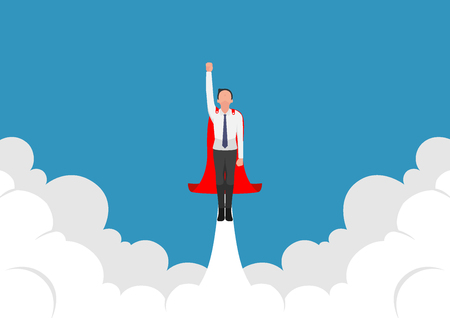 Super businessman flying up from cloud. Business leadership concept. 版權商用圖片 - 120781850