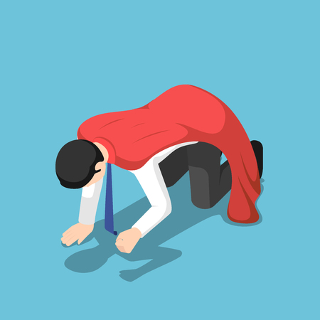 Flat 3d isometric depressed super businessman kneeling on the floor. Business failure and bankruptcy concept.