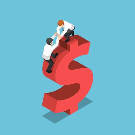 Flat 3d isometric businessman help his friend climbing up on a dollar sign. Teamwork and financial concept. 向量圖像