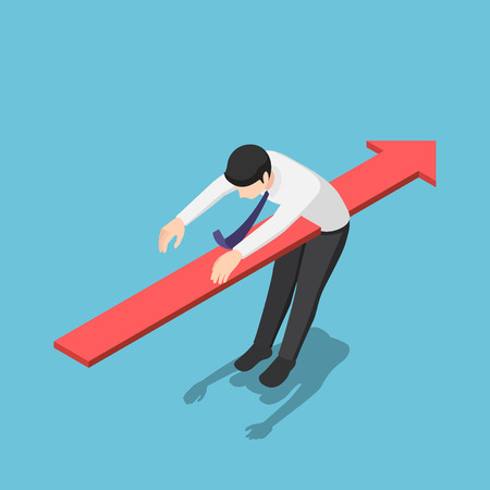 Flat 3d isometric red arrow piercing through the body of businessman. Business problem and financial crisis concept. Ilustración de vector