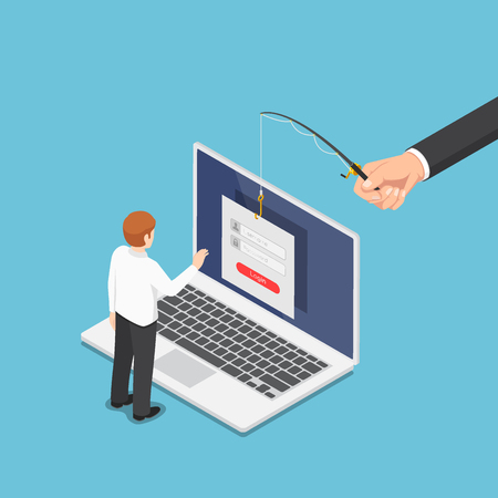 Flat 3d isometric hacker trying to steal data from businessman by phishing scam. Hacker and internet data security concept. Stock Illustratie