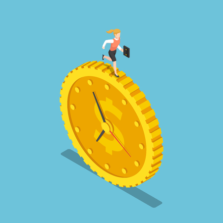 Flat 3d isometric business woman is running on the dollar coin clock. Time is money concept.