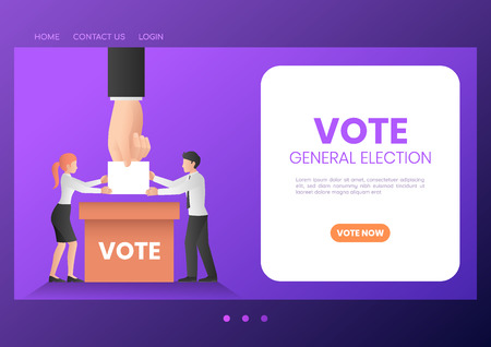Web banner business people putting ballot paper into voting box. Elections and voting landing page concept.