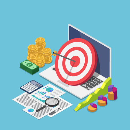 Flat 3d isometric target with arrow hit the center on laptop with business data analysis. Target audience and business strategy concept. 版權商用圖片 - 120781858
