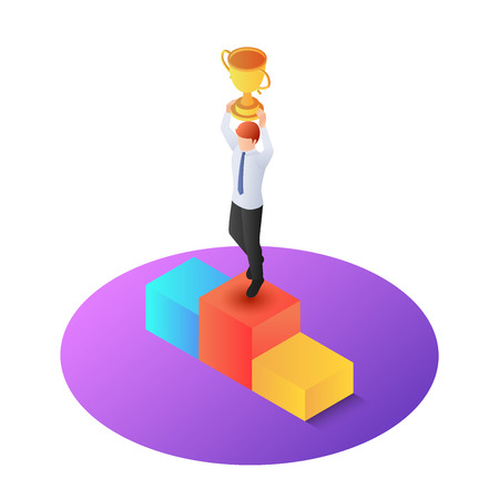 3d isometric businessman raise up winner trophy on pedestal. Business success and winner concept.