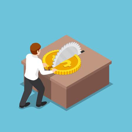 Flat 3d isometric businessman cut a coin in half on table saw. Expense reduction and cost reduction concept. 일러스트