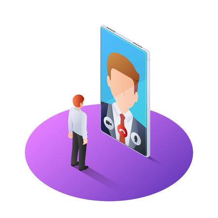 Homme d'affaires isométrique 3D ayant un appel vidéo avec le patron sur smartphone. Conseil aux entreprises en ligne et concept de technologie d'appel vidéo.
