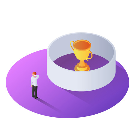3d isometric businessman standing in front of the winner trophy in the wall. Business obstacle concept. 向量圖像
