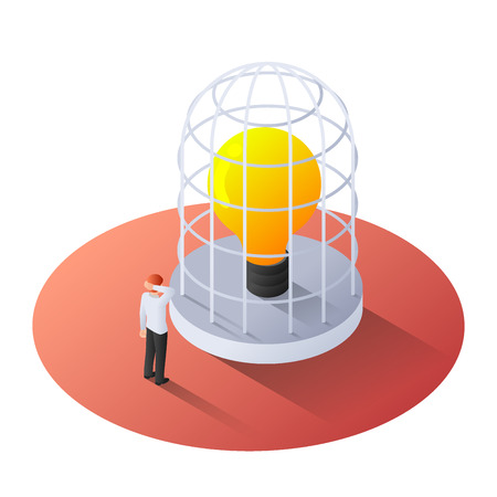 3d isometric businessman standing with Incandescent light bulb in the cage. Idea concept.