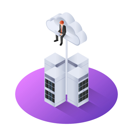 3d isometric businessman with laptop sitting on cloud above the server. Cloud computing concept
