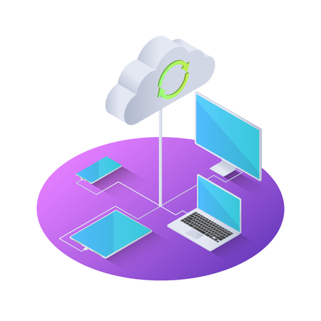 3d isometric electronics device connected to cloud computing. Cloud computing concept.