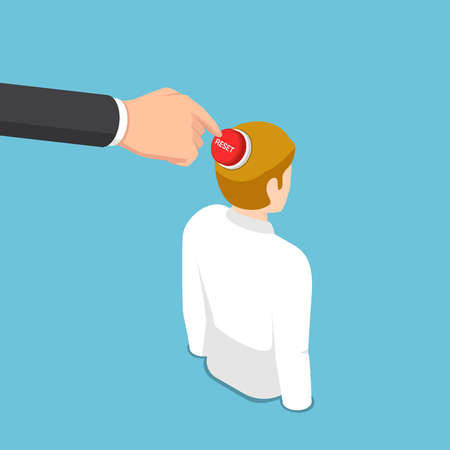 Flat 3d isometric business hand pushing reset button on business man head. Reset mindset concept.