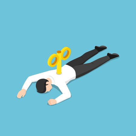 Flat 3d isometric exhausted businessman with wind-up key in his back lying on the floor. Hard working and overworked concept.