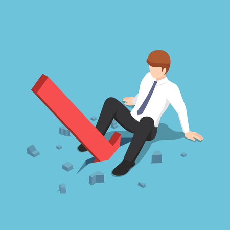 Flat 3d isometric red arrow falling between businessman legs. Business and financial crisis concept. Illustration