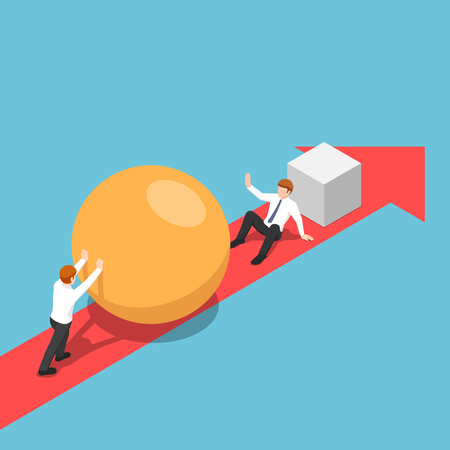 Flat 3d isometric smart businessman with sphere go faster than his rival and be able to eliminate him. Business competition concept.