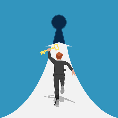 Businessman holding golden key and running to the keyhole. Key to success concept.