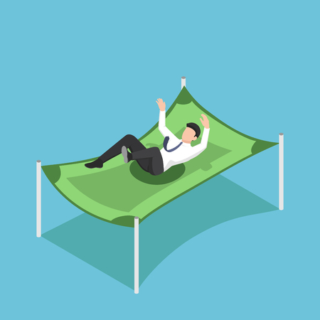 Flat 3d isometric businessman falling from the sky on dollar banknote. Reserve funds and financial protection concept.