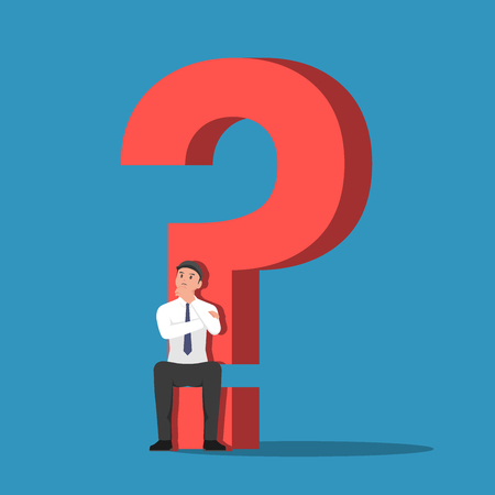 Businessman sitting on the base of question mark sign. Business problem concept. 일러스트