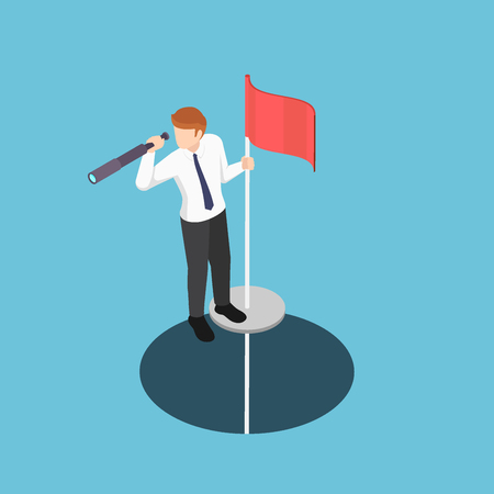Flat 3d isometric businessman standing on pole with telescope come up from the hole. Business vision concept.