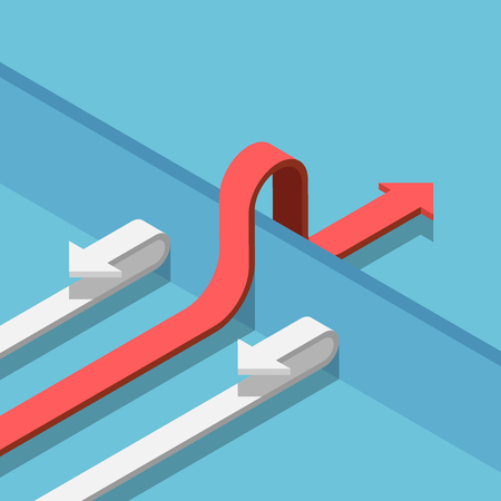 Flat 3d isometric red arrow find a way to cross the wall to success. Business solution concept. Vectores