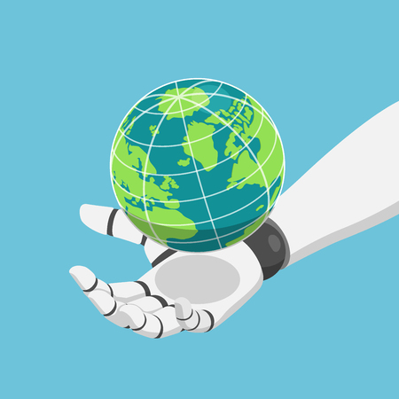 Flat 3d isometric robot hand holding the world or planet earth. Ai or Artificial Intelligence concept.