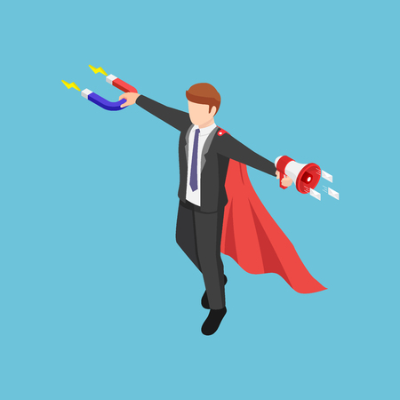 Flat 3d isometric super businessman holding magnet and megaphone to promote his business. Inbound and outbound marketing concept.