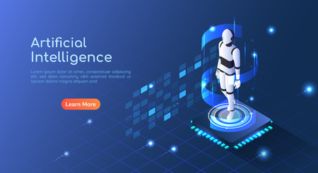 3d isometric web banner Ai Robot floating on computer chip circuit board. Artificial Intelligence and machine learning concept landing page. Illustration