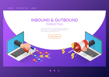 3d isometric web banner businessman hand come out from laptop monitor with magnet and megaphone. Inbound and outbound marketing landing page concept. 일러스트