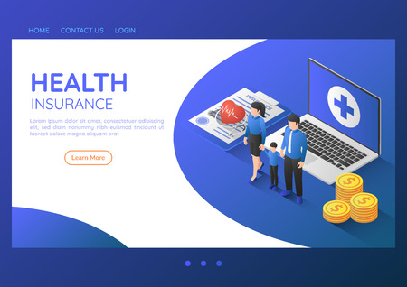 3d isometric web banner family standing with stethoscope on health insurance document and laptop. Health insurance and family health care landing page concept. 일러스트