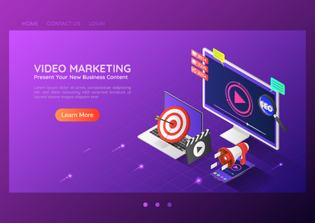 3d isometric web banner online video content marketing advertising on pc smartphone laptop. Video marketing landing page concept. 向量圖像