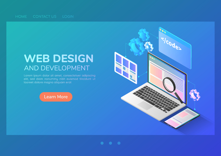 3d isometric web banner website development and application interface design on laptop. Web development and application design concept.