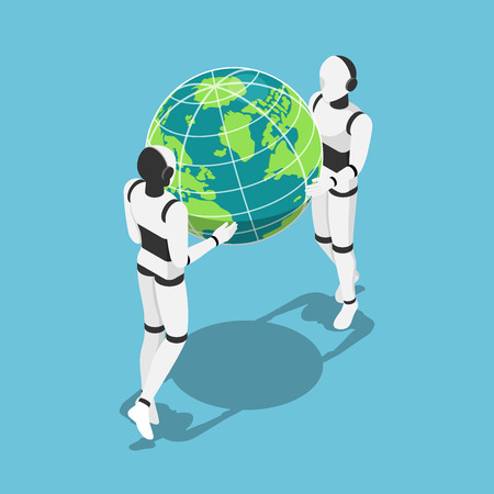 Flat 3d isometric Ai robot holding earth planet in hands. Artificial intelligence technology concept. 일러스트
