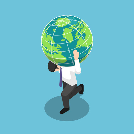 Flat 3d isometric businessman carrying the world or earth globe on his shoulder. Responsibility and leadership concept.