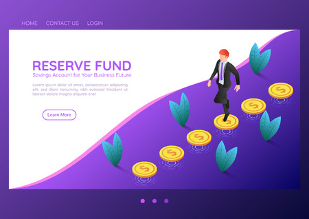 3d isometric web banner businessman walking on coins that floating above the floor. Reserve fund and financial landing page concept.