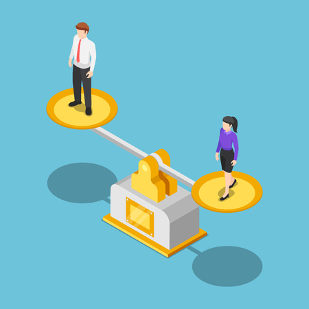 Flat 3d isometric businessman and businesswoman equal on a scale. Business and gender equality concept.